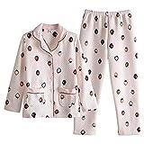 DFDLNL Strawberry Pyjama Thicken All-Cotton Conjunto de Pijama de Manga Larga Ropa Informal de Invierno M.