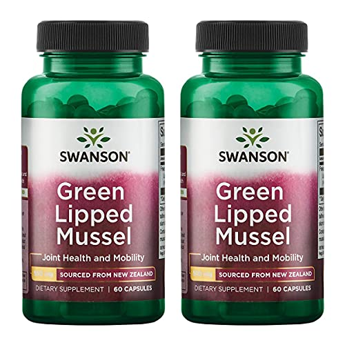 Swanson Green Lipped Mussel (Freeze Dried) New Zealand Joint Health Supplement 500 mg 60 Capsules 2 Pack