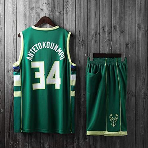 HS-XP Bambini Uomini Adulti NBA Milwaukee Bucks # 34 Giannis Antetokounmpo Maglie di Pallacanestro, Estate Stick Shirt Maglia + Pantaloncini Superiori,Verde,2XL(Adult) 170~175CM