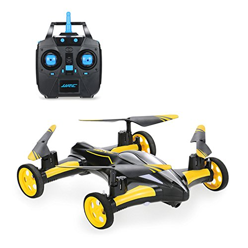CHINA MADE Air-Ground RC Drone 6-Axis Gyro Flying Car 2.4Ghz 6CH Quadcopter Land/Sky 2 Modes Helicopter Toy H23 Yellow