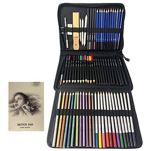 Sipobuy 73PCS Drawing Pencils Set, Colouring and Sketch Pencils Set, with Nylon Bag, Sketching Pad and Drawing Tool, Suitable for Beginners and Professional Art Painters