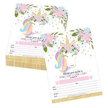 Hadley Designs 25 Pastel Unicorn Kid Party Invitation Birthday Royal Princess Queen Crown Girl Bday Invite Magical Rose Pink Gold Floral Glitter Rainbow Bday Idea Magic Fairytale Printable Template