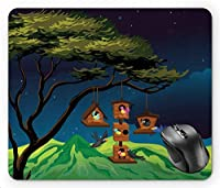 Birdhouse Cute Flying Birds in Artificial Tree Nest at Night Illustration, Night Blue and Multicolor Mouse Pad