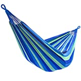 Sorbus Brazilian Double Hammock - Extra-Long Two Person Portable Hammock Bed for Indoor or Outdoor Spaces - Hanging Rope, Carrying Pouch Included (Blue/Green Stripes)