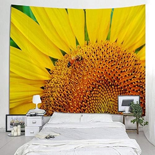 Tapiz Colcha de pared Colcha Toalla de playa Paño de mesa Estera de yoga Home Deco Floral Girasol 150x180cm