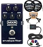 MXR M82 Bass Envelope Filter Pedal Bundle with Blucoil Slim 9V Power Supply AC Adapter, 2-Pack of 10-FT Straight Instrument Cables (1/4in), 2x Patch Cables, and 4-Pack of Celluloid Guitar Picks