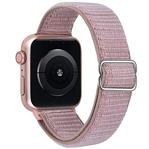 VISOOM Stretchy Bands Compatible with Apple Watch 38mm/40mm/42mm/44mm-Apple Watch Strap for iWatch Series 6/SE/5/4/3/2/1 Accessories Elastics Sports Replacement for Men Women (Pink, 42mm/44mm)