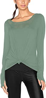 Mippo Womens Open Back Long Sleeve Athletic Workout Shirt Self Knot Front Thumb Hole Top