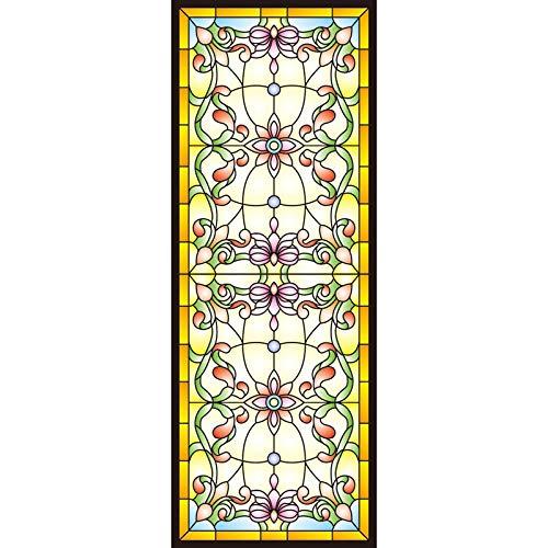 KUNHAN Vini para Ventanas Tiffany Church vitral película Espejo baño Ventana Vidrio Transparente Opaco Mate Pegatina- 70x200cm