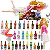 32 PCS 28 Styles Mini Wine Bottle Cake Toppers Set with Plastic Miniature Toilet Toy Crown Necklace Bachelorette Dolls Gift Kit for Birthday Bachelorette Party Cake Decoration Supplies