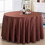 Mantel redondo, 100 % poliéster, circular, para mesa de comedor, suave, lavable, para novia, boda, fiesta, restaurante (marrón oscuro, 2,8 m)