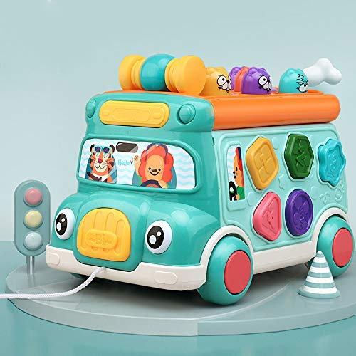 Juguetes educativos interactivos de cubo de actividad para niños y niñas de 0-3 años, juguetes musicales para bebés y clasificación de formas, juguetes multifuncionales de educación temprana seis en u