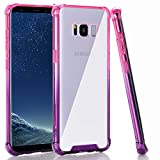 BAISRKE Clear Case for Galaxy S8, Shock Absorption Flexible TPU Soft Edge Bumper Anti-Scratch Rigid Slim Protective Cases Hard Plastic Back Cover for Samsung Galaxy S8 - Pink Purple Gradient