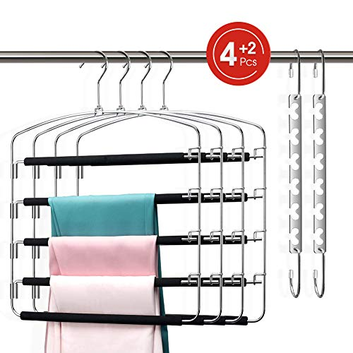 Pants Hangers Organizer Space Saving 5 Tiers Metal Slacks Hangers, Swing Arms Foam Padded Non-Slip Trouser Hanger Storage for Jeans, Suit Pants, Scarves, Ties (4 Pant Hangers \u0026amp;2 Magic Hangers)