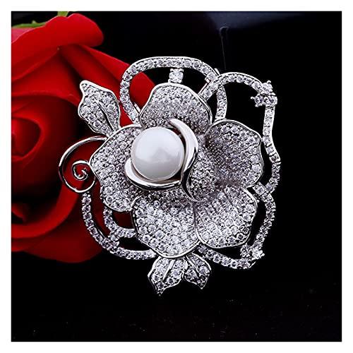 JINYIWJ Broche Pins de Broche de Flor de Rosa de Lujo para Colgante Boda Broches Bouquet