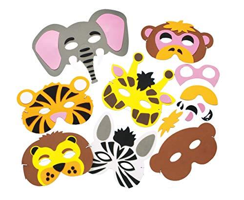 Baker Ross Bastelset für Masken aus Schaumstoff - Tiere des Dschungels - für Kinder ideal zum Kindergeburtstag und Karneval - 6 Stück