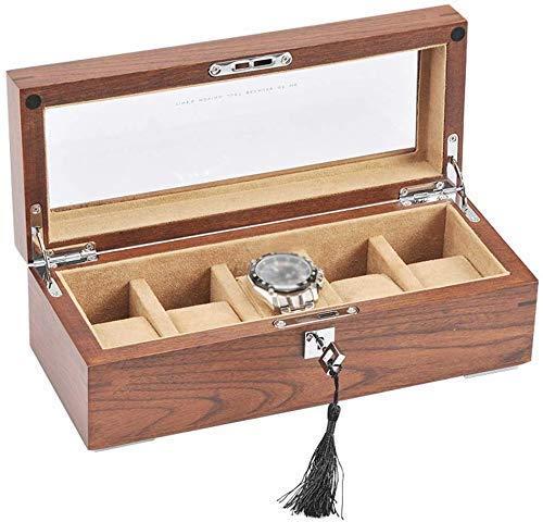 NBVCX Inicio Accesorios Caja de Reloj 5 Ranuras para Relojes Organizador de Joyas Vitrina de Madera Organizadores de Almacenamiento con Tapa de Vidrio y para Hombres y Mujeres