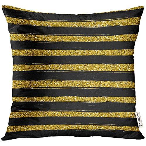 QDAS kussenhoes kleur geel met zwarte cirkels in gouden stijl, decoratief, goudkleurig, kussensloop voor interieur