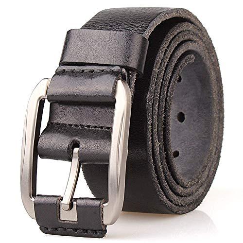 DSY Belt Men, Vintage de Lujo 3.8Cm Masculino Big Tamaño Cinturón Suave 130 cm Marrón bolsillo/Negro / 130
