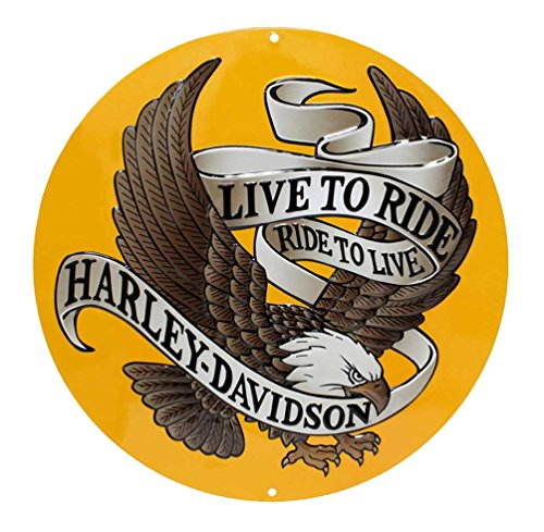 Harley-Davidson Round Tin Sign, Live to Ride, Ride to Live Eagle Gold 2010231
