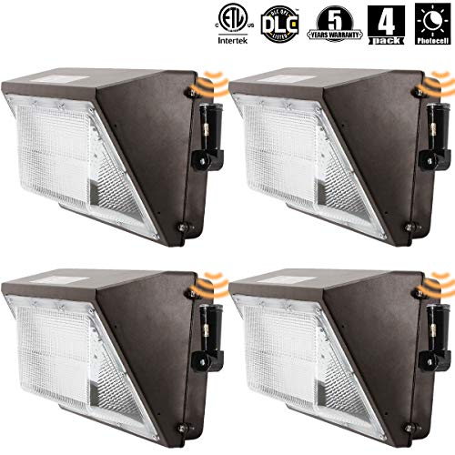 OOOLED LED Wall Pack Light (IncludePhotocell Dusk-to-Dawn Waterproof),100W 11500LM,120-277V 5000K Daylight DLC cETLus-Listed, Outdoor/Entrance (5-Year Warranty) 4pk (5000K)