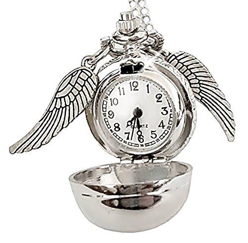 Collar con colgante de reloj operativo y alas de Harry Potter (color plateado)