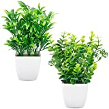 Funarty Fake Plants Artificial Greenery Small Faux Plants in White Planter, Potted Plants for Windowsills, Home, Room and Office Décor (2 Packs)