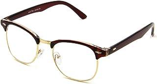 Cyxus Blue Light Filter Semi-rimless Glasses, [Transparent Lens] Anti Eyestrain Computer Reading Glasses (Wine Red Frame)