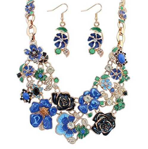 Aooaz Set di gioielli di stile bohemien per donne signore di cristallo bianco blu ciondolo collana orecchini fidanzamento