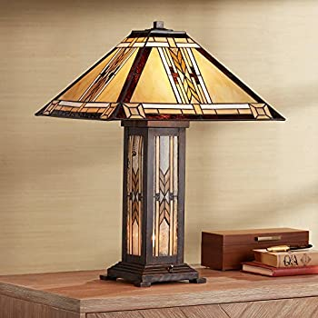 Drake Tiffany Style Table Lamp with Nightlight Mission Bronze Stained Glass for Living Room Family Bedroom Bedside - Franklin Iron Works