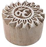 Guru-Shop Indischer Textilstempel, Stoffdruckstempel, Blaudruck Stempel, Holz Model - Ø 4 cm OM 4,...