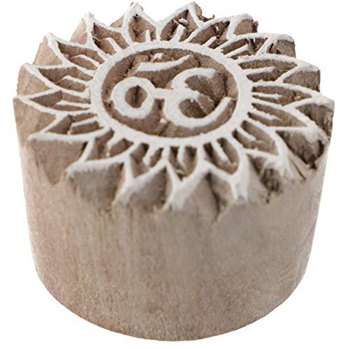 Guru-Shop Indischer Textilstempel, Stoffdruckstempel, Blaudruck Stempel, Holz Model - Ø 4 cm OM 4, Braun, Indische Holzstempel