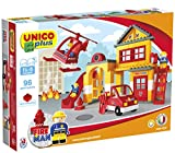 Unico Plus station de pompier, briques de construction, hélicoptère, camion de pompier.