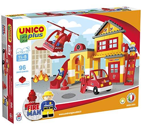 Unico Plus Feuerwehrstation Bausteine Hubschrauber Feuerwehrauto