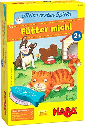 HABA 305473 - Meine ersten Spiele – Fütter mich! Zuordnungsspiel ab 2 Jahren für 1 – 5 Spieler mit 5 Holzfiguren zum Thema Haustiere, Spieldauer 5 min, vermittelt Regelverständnis an Kleinkinder