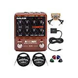NUX Roctary Force Rotary Speaker Multi-Effects Pedal Bundle with Blucoil Slim 9V Power Supply AC Adapter, 2-Pack of 10-FT Straight Instrument Cables (1/4in), 2x Patch Cables, and 4x Guitar Picks