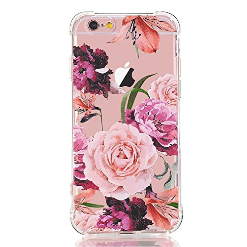 LUOLNH Slim Shockproof Clear Floral Pattern Soft Flexible TPU Back Cover Case Compatible with iPhone 5 5s SE-Purple Rose
