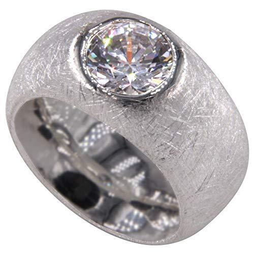 schwerer Silber Ring - Goldschmiedearbeit - mit 10 mm Zirkonia Stein (Sterling Silber 925) mattiert - Damenring - Silberring