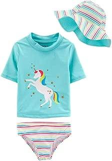 3 Piece Little Girls' Swimsuit Set, Rash Guard, Hat