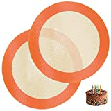Round Silicone Baking Mat for 8 Inch Cake Pan, Food Grade, Non-Stick, Reusable Silicone Mat for Baking Pan for Bread/Tortilla/Macaron/Pastry/Pie/Bun or 9 Inch Pizza Pan, 2PCS