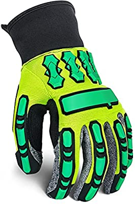 Heavy Duty Work Gloves with Knuckles pads, Anti Vibrant Safety Gloves with Grip, Industrial Impact Working Gear, Durable Protective work wear for Mechanic, Automotive Repair, Construction, Oil & Gas