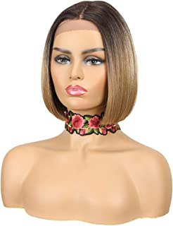 Lace Front BOB Wigs for Black Women NOBLE Colorful Ombre Light Brown Wig 10 inches Middle Part Blunt Cut Bob Wig