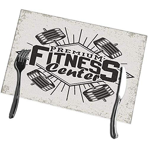 Mesllings Tischsets für Esstisch, Vintage, Grange Stamp Fitness Emblem Gym Sport Logo Tischsets 30,5 x 45,7 cm – 4 Stück