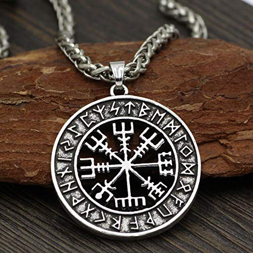 Haushele OFD Nordische Wikinger Amulett Anhänger Halskette Kompass Anhänger Halskette Nordic Viking Odin Halskette(H01-Silber)