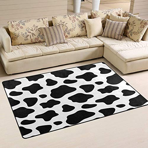 Personalized Cow Leopard Print Area Rug Animals Pattern Xmas Decor Kids Area Rugs Carpet Chair Mat Flannel Floor Pads for Living Room Bedroom Dorm Office Outdoor, Area Carpets