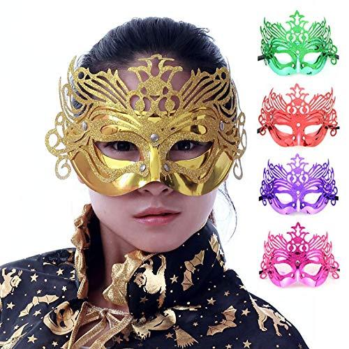 MASKUOY Halloween-Maske 5P Fashion Maskerade Masken Kinder Halloween Maske Masken Gold Puder Spitze