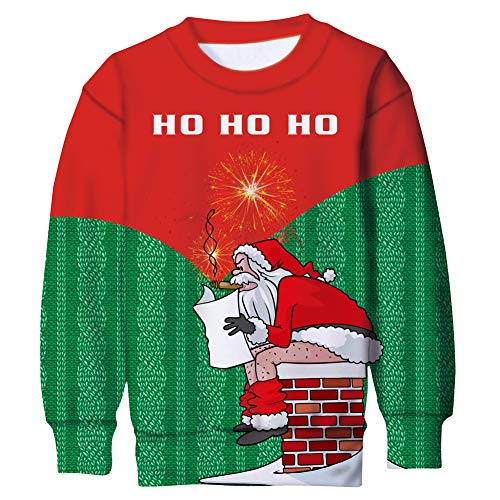 Funnycokid Girls Boys Fleece Sweatshirt Ugly Christmas Naughty Santa Pooping Long Sleeve Sweater Shirt Pullover Jumper Red Green 8-9Y