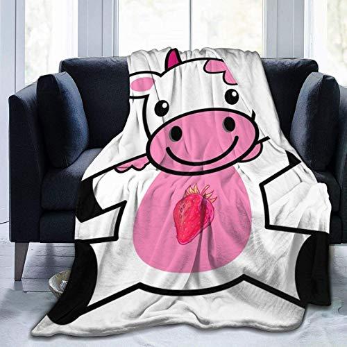 Fresa bebé leche vaca mantas usadas para camas Sofás cálido y cómodo franela de microfibra mantas ligeras (hombres, mujeres)