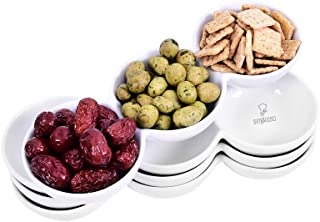 Singkasa 3-Compartment-Porcelain Appetizer Serving Tray, Triplet Bowl, Bowl Set - Great for Snacks, Dips – White – 9.5 Inch – 18 Ounce | set of 4