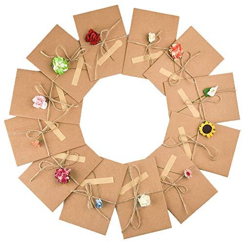 Fepito 12 Piezas Tarjetas Navidad DIY hecho a mano Papel kraft retro Tarjetas de agradecimiento Tarjetas de felicitación con 12 Flores hechas a mano y pegatinas